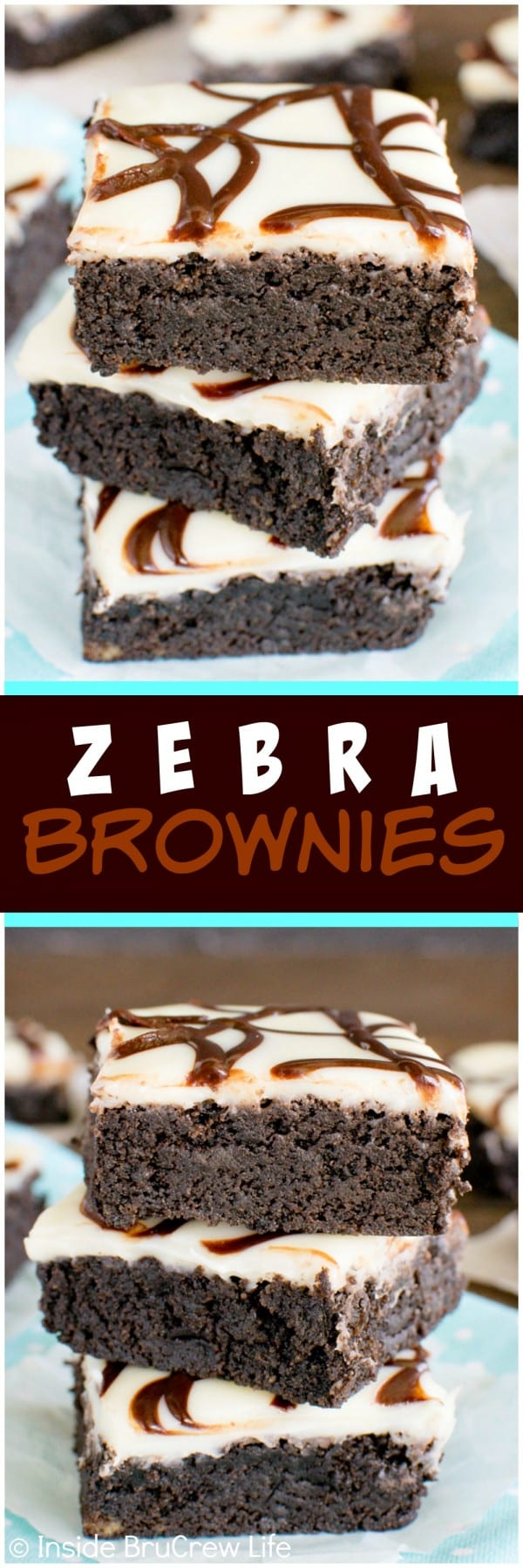 Zebra Brownies - white chocolate glaze and chocolate stripes make these fudgy homemade brownies disappear! Awesome dessert recipe!