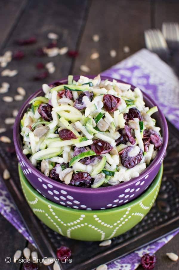 Cranberry Zucchini Slaw - nuts and berries add a great sweet & salty flavor to this easy salad. This is a great healthy side dish recipe for picnics!