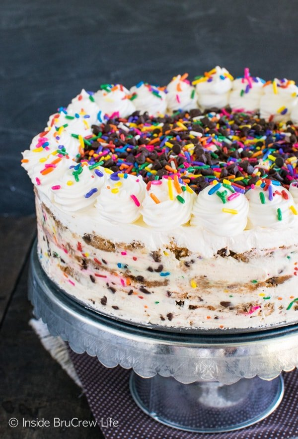 Lots of sprinkles and chocolate chips make this Funfetti Chocolate Chip Cookie Icebox Cake a fun summer cake! Great no bake recipe!