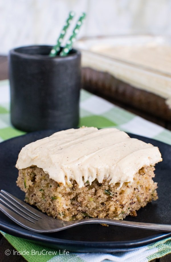 Zucchini Banana Cake - adding caramel frosting takes this delicious and soft cake over the top! Amazing dessert recipe!