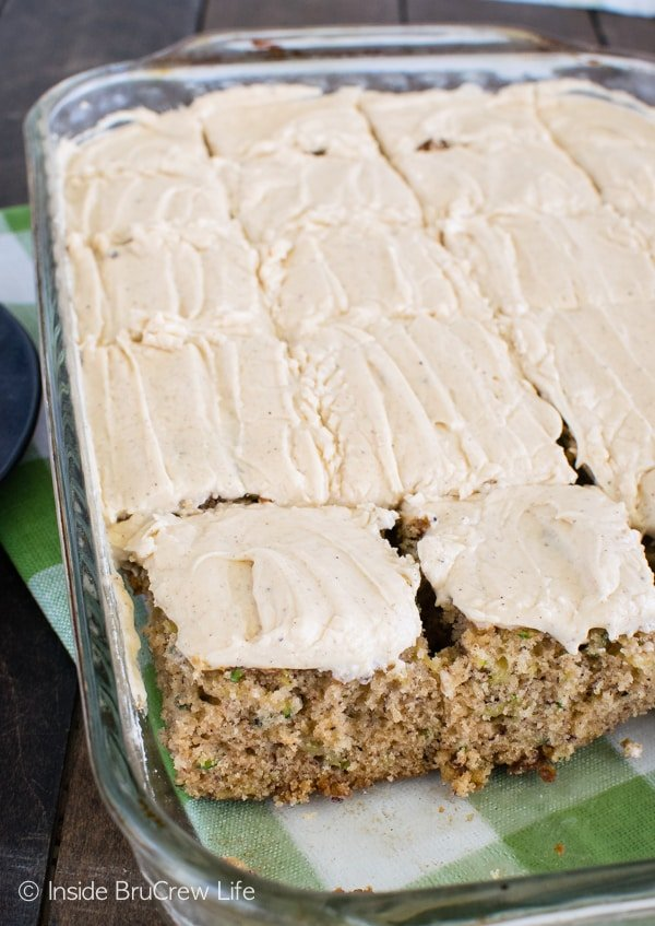 Caramel frosting makes this amazing Zucchini Banana Cake taste so good!!! Great dessert recipe!