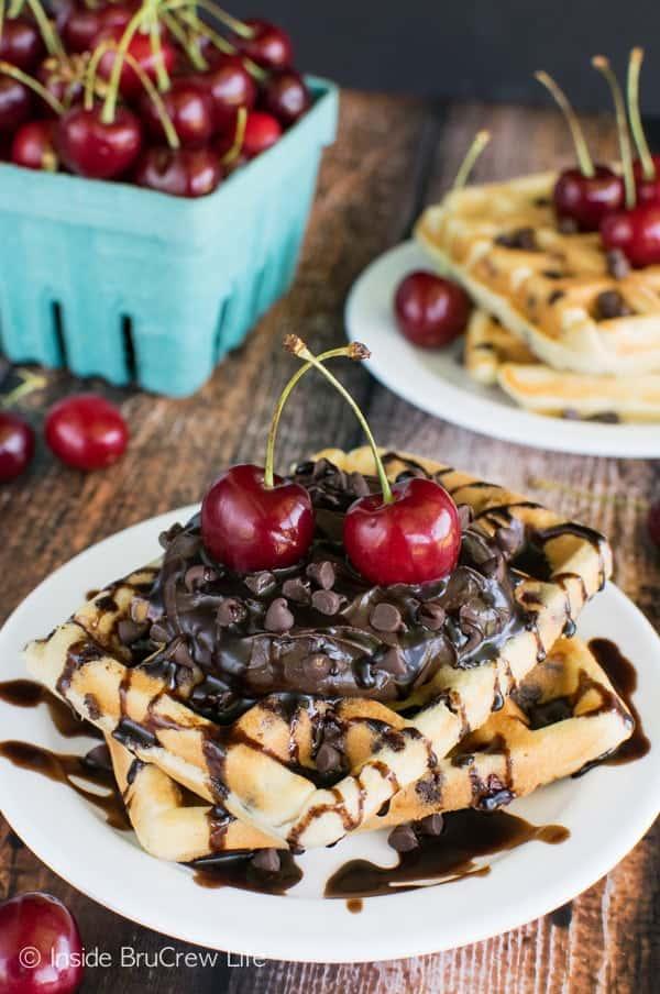 Cherry Chocolate Chip Waffles - fresh homemade waffles loaded with chocolate chips & fresh cherries! This is an amazing breakfast recipe!