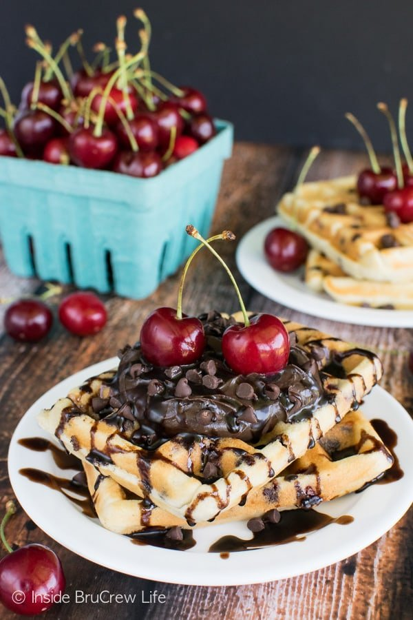 Cherry Chocolate Chip Waffles - fresh cherries and chocolate chips add a great taste to these homemade waffles. Awesome breakfast recipe!