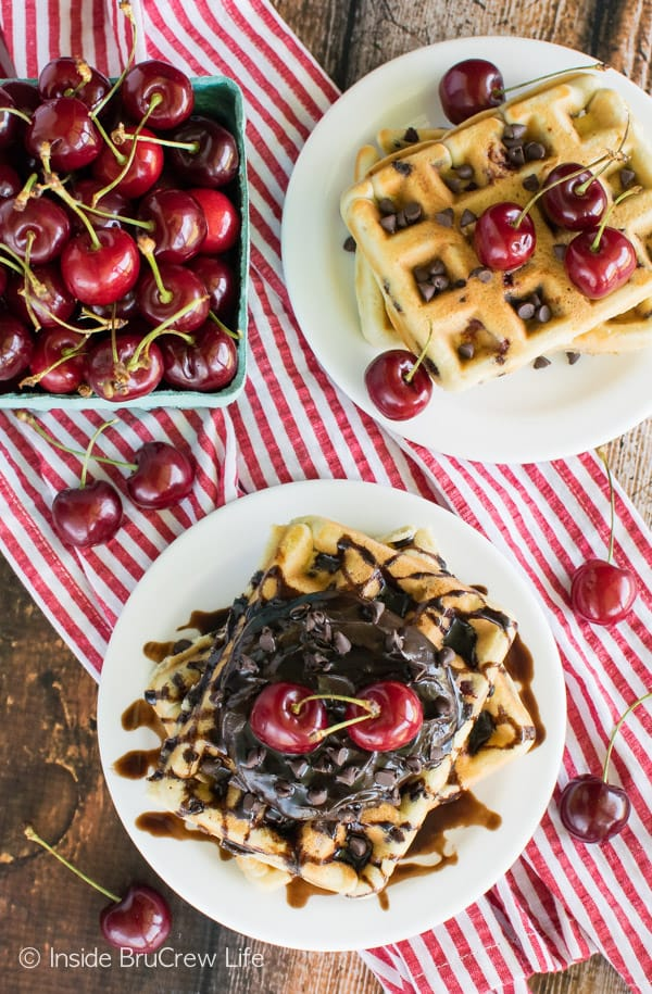 Chocolate chips & fresh cherries make these homemade Cherry Chocolate Chip Waffles a great way to start the day! Awesome breakfast recipe!