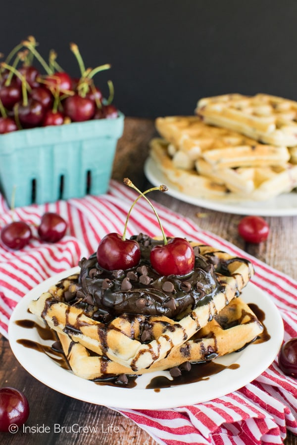 Cherry Chocolate Chip Waffles - homemade waffles loaded with chocolate and fruit is a great idea! Great breakfast recipe!
