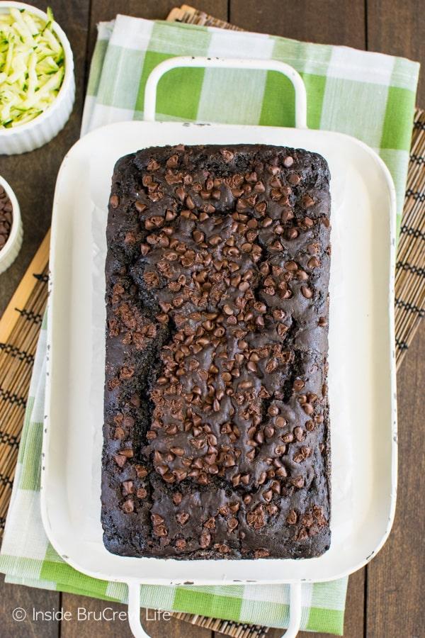 Dark Chocolate Zucchini Bread - chocolate makes any green veggie that much better! Awesome breakfast recipe!