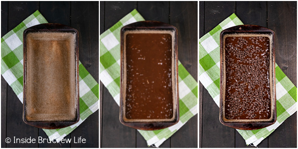 Three pictures showing the steps to filling a bread pan with chocolate zucchini bread batter and chocolate chips.