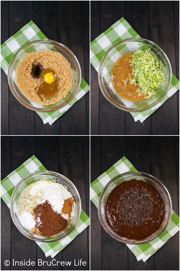 Four pictures collaged together showing the steps to making the batter for a chocolate chocolate chip zucchini bread.