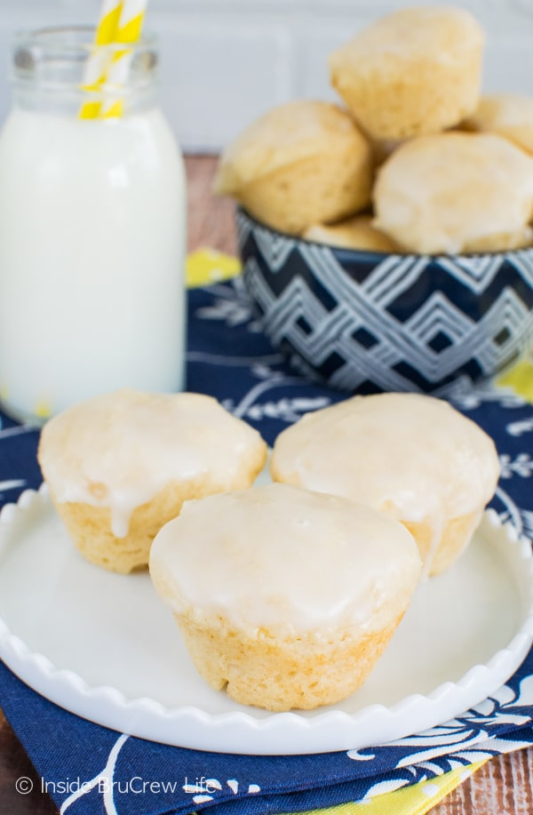 Lemon juice, zest, and glaze give these Mini Lemon Donut Muffins a great lemon punch! Perfect little breakfast recipe!