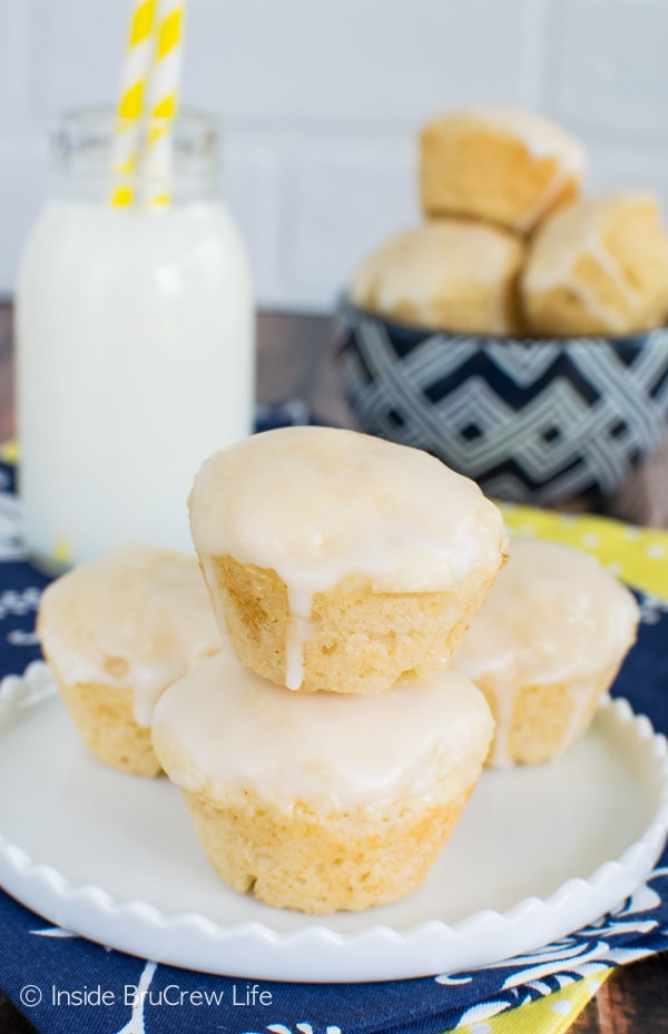 Mini Lemon Donut Muffins - adding three times the lemon makes these little bites a great breakfast recipe!