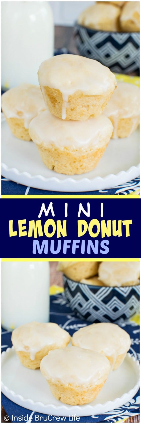 Mini Lemon Donut Muffins - these easy little muffins are loaded with lemon goodness! Perfect breakfast recipe!