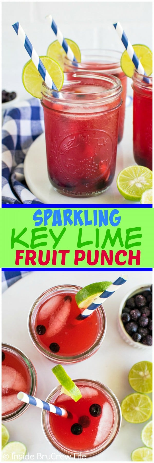 Sparkling Key Lime Fruit Punch - key lime juice and fruit punch makes a refreshing drink on a hot summer day! Awesome punch recipe!