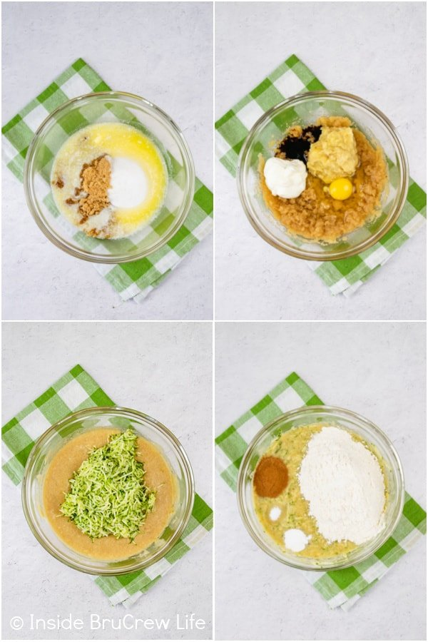 Four pictures collaged together showing the steps to making the batter for a zucchini cake with bananas.
