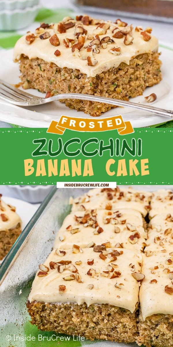 Two pictures of zucchini banana cake collaged together with a green text box.