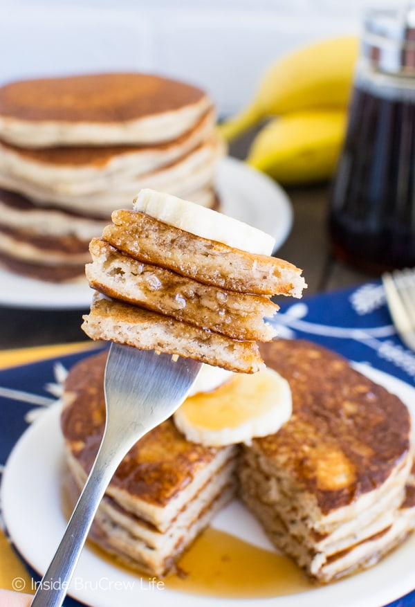 These easy Banana Pancakes make a great breakfast. Keep a batch in the freezer for later! Great breakfast recipe!