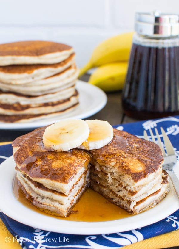 These easy Banana Pancakes come together quickly in the blender. Great breakfast recipe to make ahead and freeze for later!