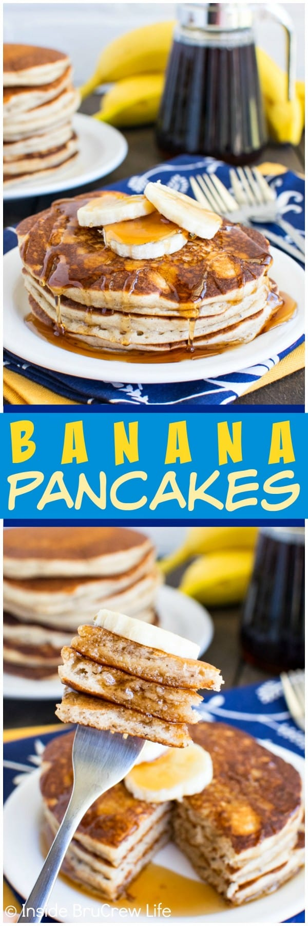 Banana Pancakes - the batter for these pancakes comes together quickly in the blender. Great breakfast recipe to make and freeze for later!