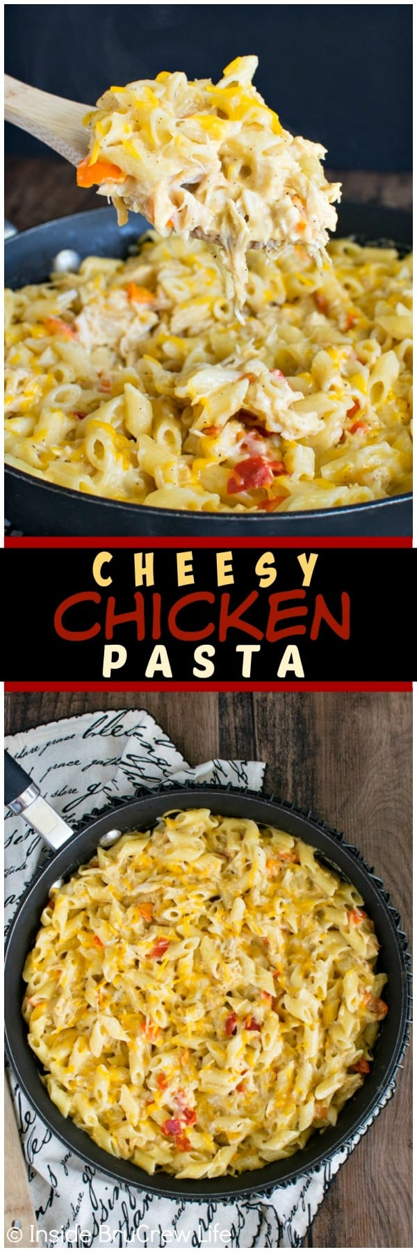 Cheesy Chicken Pasta - gooey cheese and pasta in under 30 minutes gets smiles from everyone at the dinner table. Make this easy recipe for busy nights! #pasta #skillet #30minutemeal #chicken #cheese #dinner #recipe