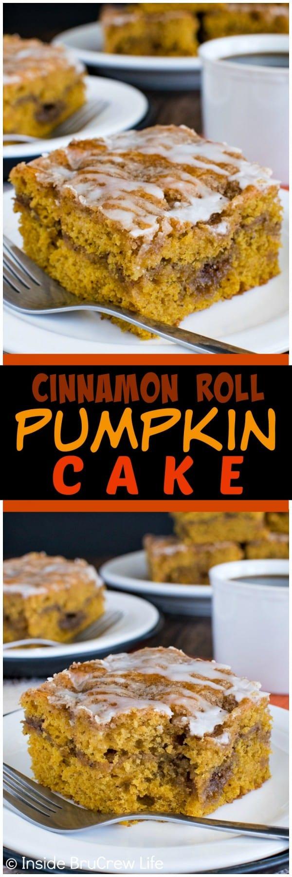 Cinnamon Roll Pumpkin Cake - pockets of cinnamon sugar make this ...