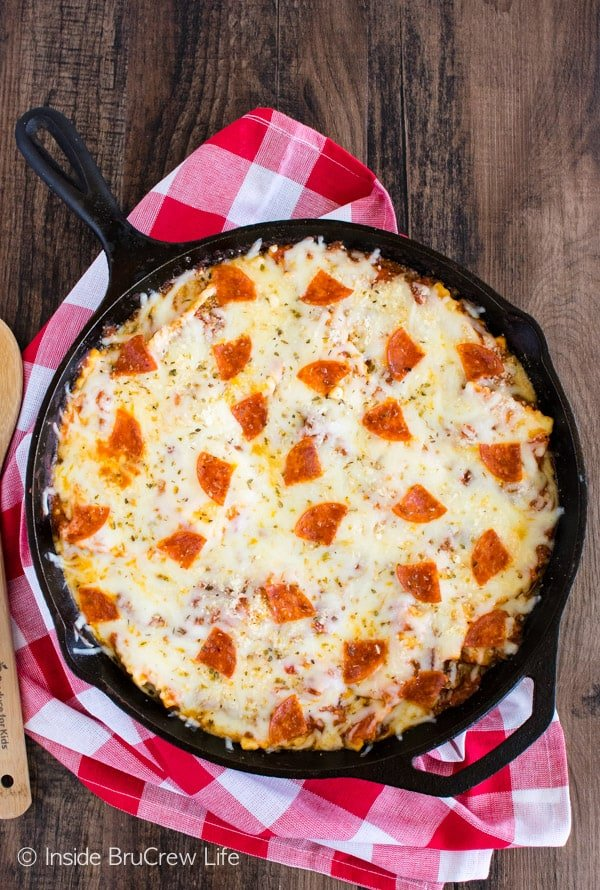 Meat Lover's Pizza Skillet Ravioli - three kinds of meat and lots of melted cheese make this a hit at the dinner table. Great recipe for busy nights!