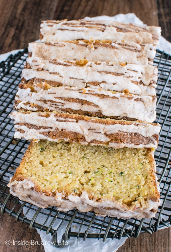 Pineapple Zucchini Bread - shredded pineapple and pineapple glaze adds a great tropical flair to this sweet bread recipe!