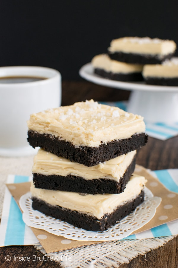 Salted Caramel Chocolate Sugar Cookie Bars - soft chocolate cookies and creamy caramel frosting makes these easy cookies disappear in a hurry!