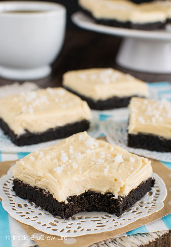 Creamy caramel frosting makes these Salted Caramel Chocolate Sugar Cookie Bars a delicious treat to share with friends!