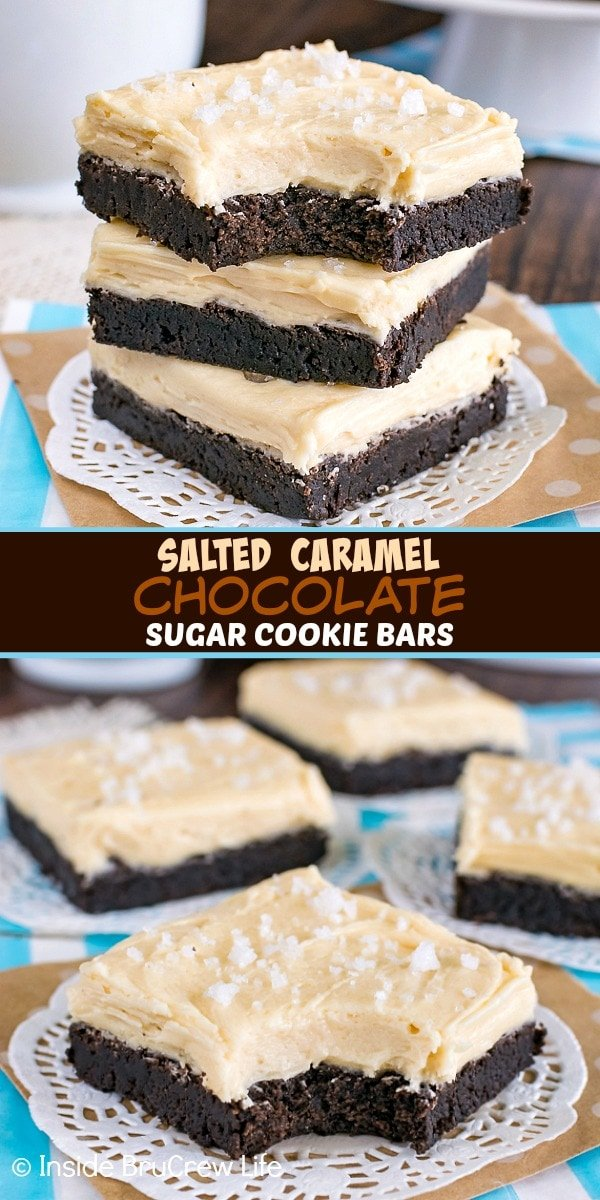 Two pictures of salted caramel chocolate sugar cookie bars collaged together with a brown text box