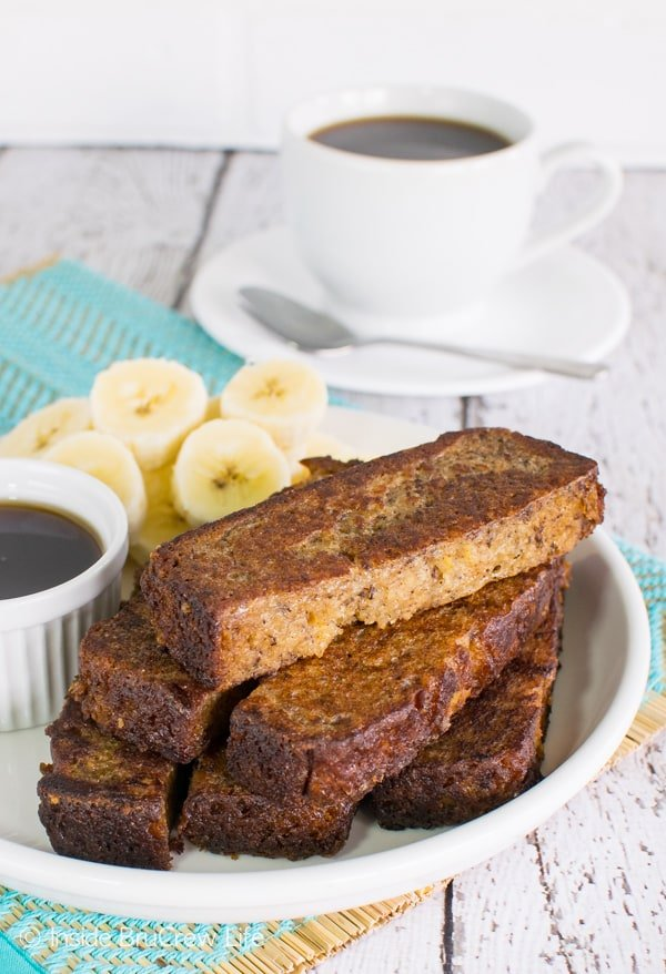 Banana Bread French Toast Sticks - fry your favorite banana bread in easy french toast sticks for busy mornings. Great recipe to freeze for later!