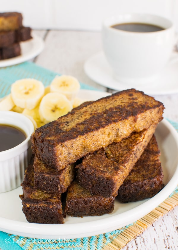Dip your favorite banana bread in eggs to make these fun Banana Bread French Toast Sticks for breakfast!