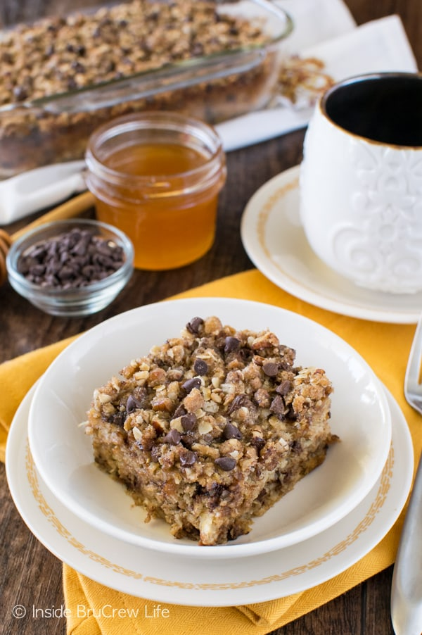 Try this Chocolate Chip Banana Streusel Baked Oatmeal for breakfast the next time you have ripe bananas. Great recipe that is delicious warm or cold!