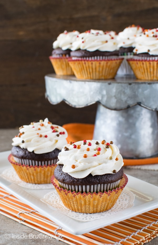 The hidden pumpkin cream center makes these Chocolate Pumpkin Cream Filled Cupcakes a fun fall recipe!
