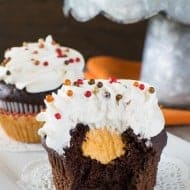 Chocolate Pumpkin Cream Filled Cupcakes