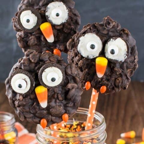 No Bake Rice Krispies Owl Cookies