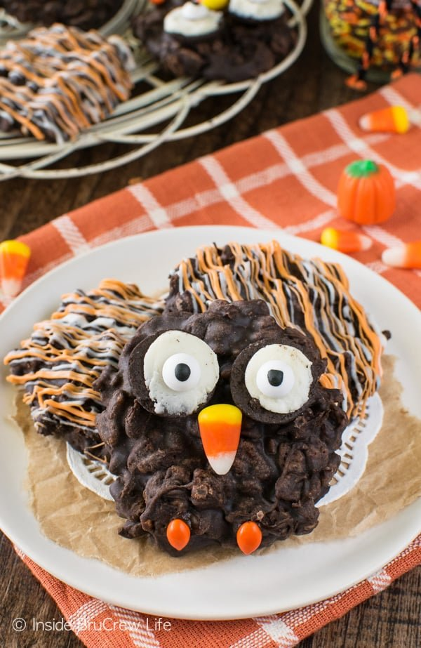 No Bake Rice Krispies Owl Cookies - easy treat for fall parties