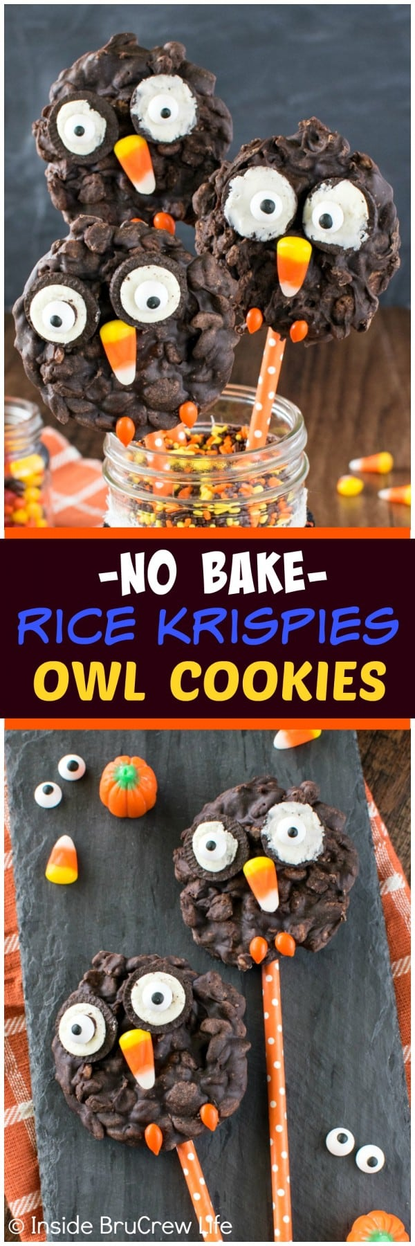 No Bake Rice Krispies Owl Cookies - cookies and candies add a fun twist to these easy no bake cookies. Great treat to share at fall parties!