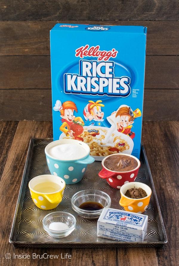 No Bake Rice Krispies Owl Cookies ingredients