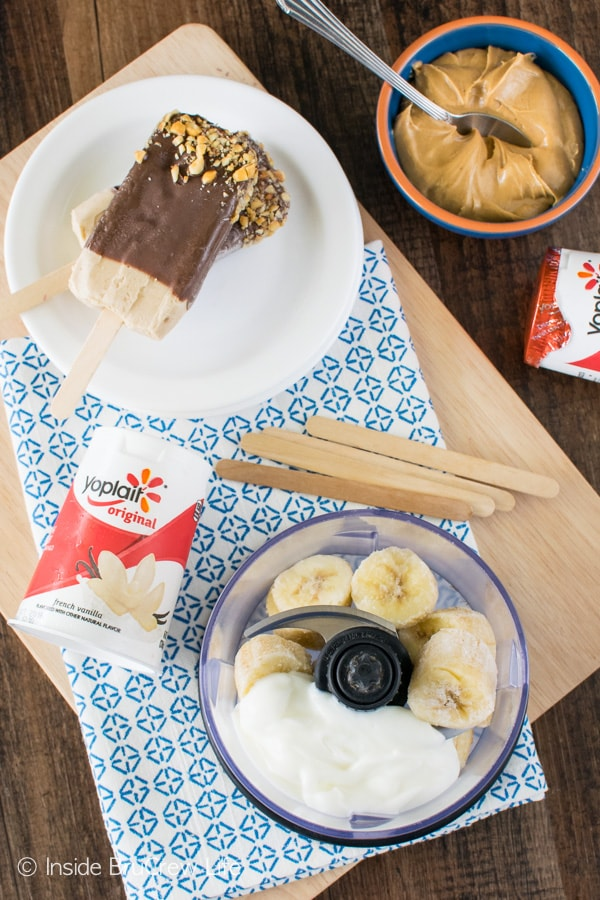 Peanut Butter Banana Popsicles are a fun and delicious after school snack or dessert. Easy recipe to make!