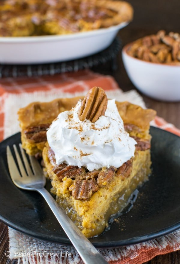 Layers of cheesecake and pecans make this Pecan Pumpkin Cheesecake Pie a fall dessert recipe you need to try!