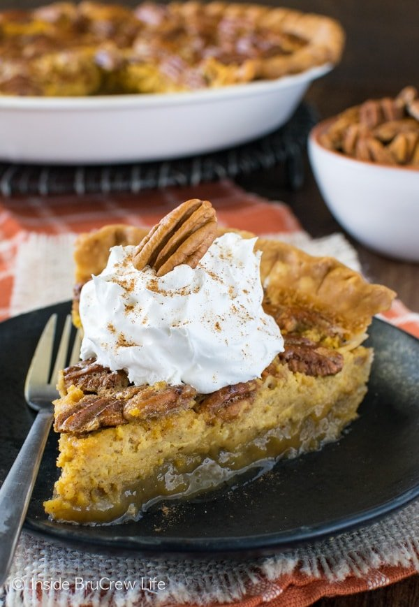 Pecan Pumpkin Cheesecake Pie - pecan pie and pumpkin cheesecake join together in one amazing fall dessert. This is a recipe you need to make!