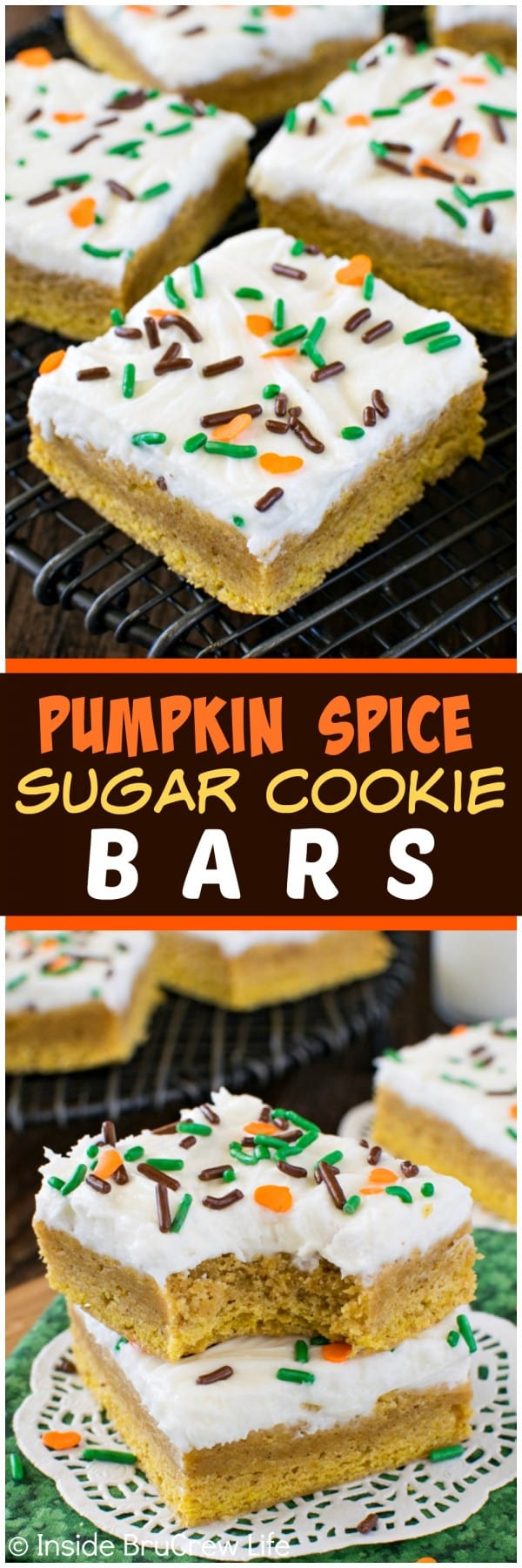 Pumpkin Spice Sugar Cookie Bars - these easy bar cookies have a sweet ...