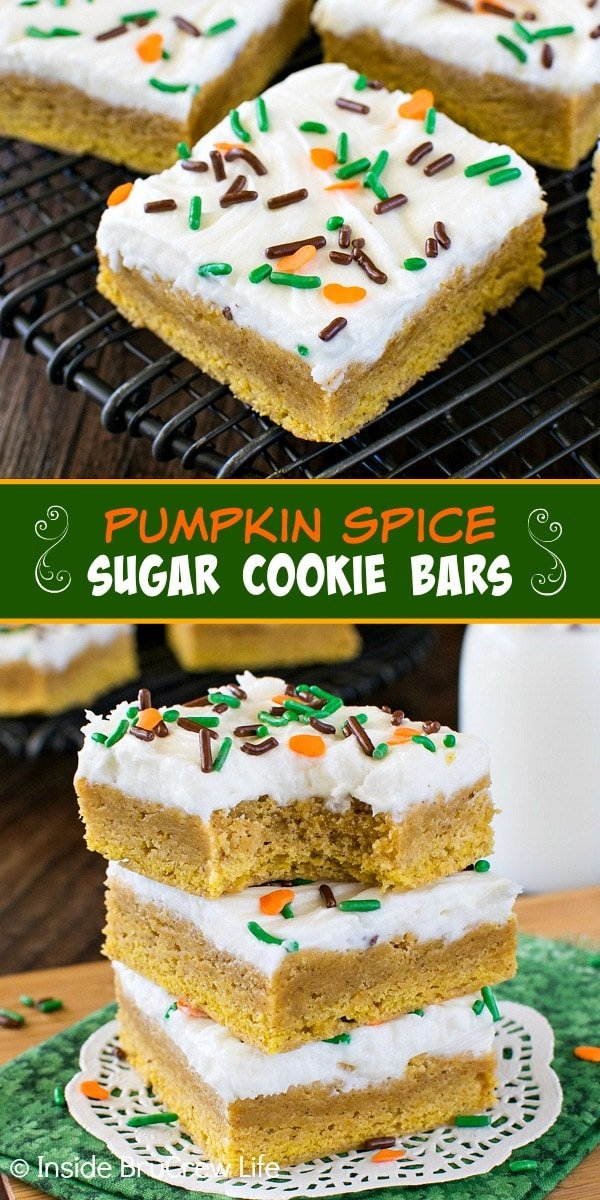 Two pictures of pumpkin spice sugar cookie bars collaged together with a green text box