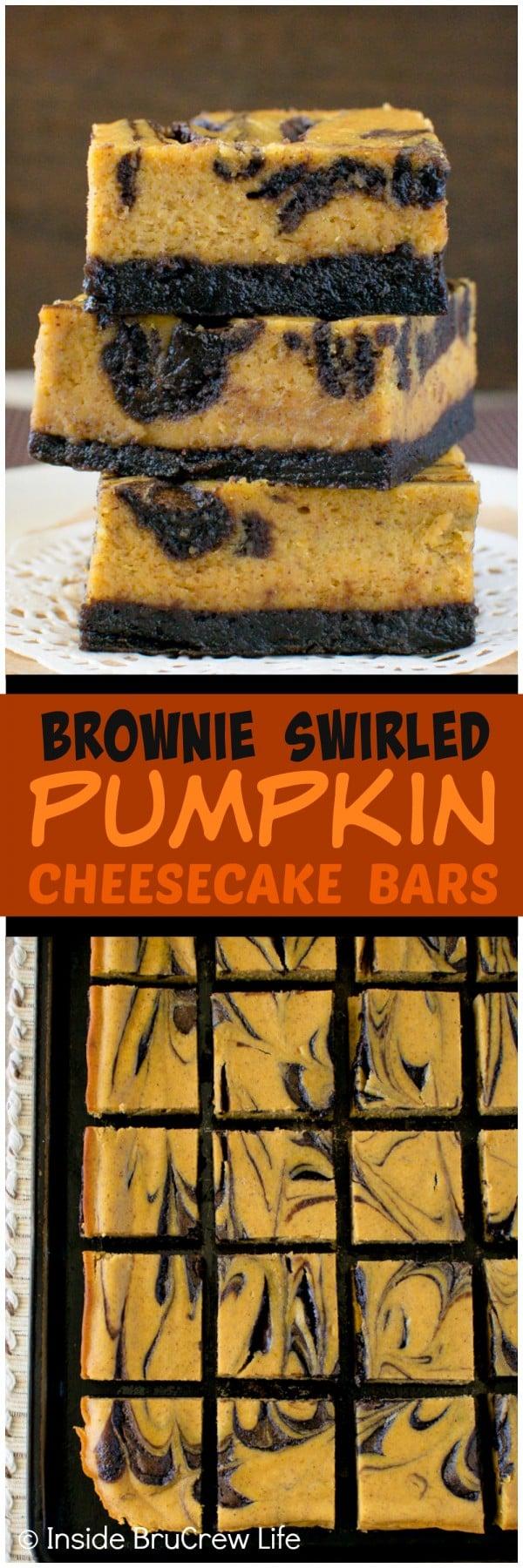 Brownie Swirled Pumpkin Cheesecake Bars - creamy pumpkin cheesecake with chocolate crust and swirls on top. Great fall dessert recipe!