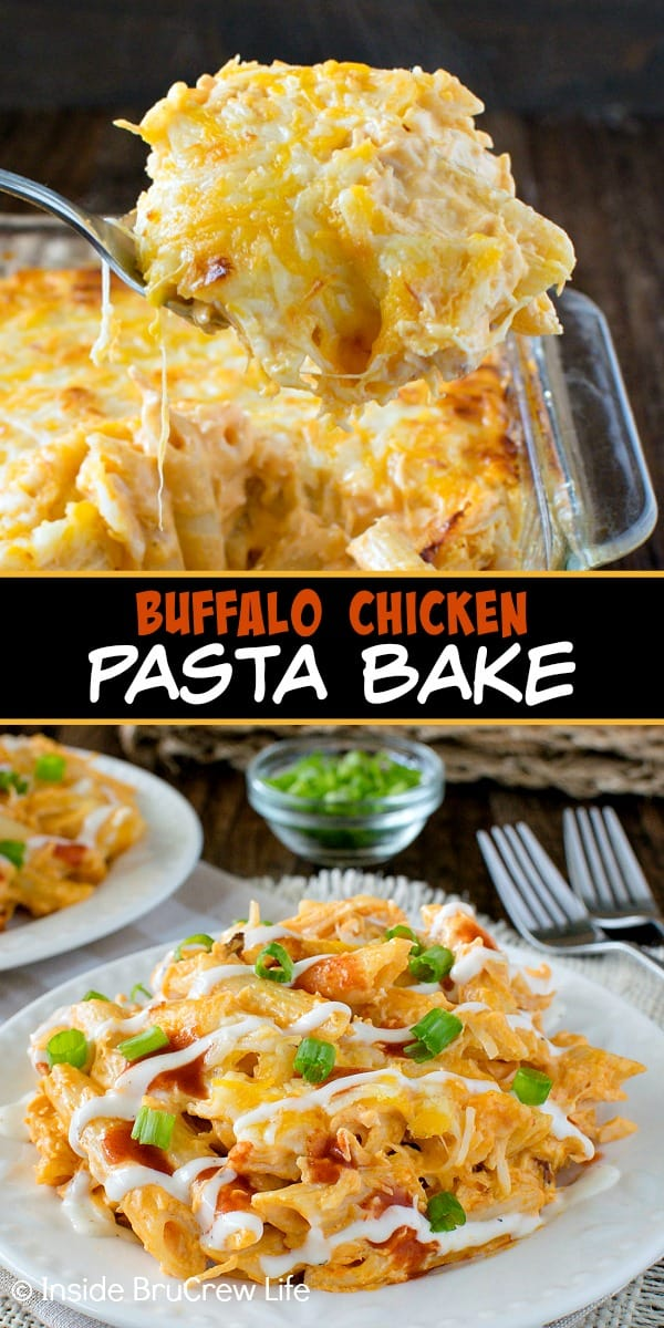 Two pictures of Buffalo Chicken Pasta Bake collaged together with a black text box