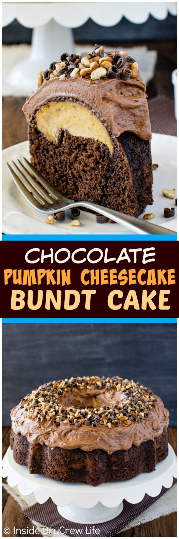 Chocolate Pumpkin Cheesecake Bundt Cake - creamy frosting, nuts, and cheesecake make this a fun fall treat. Great dessert recipe!