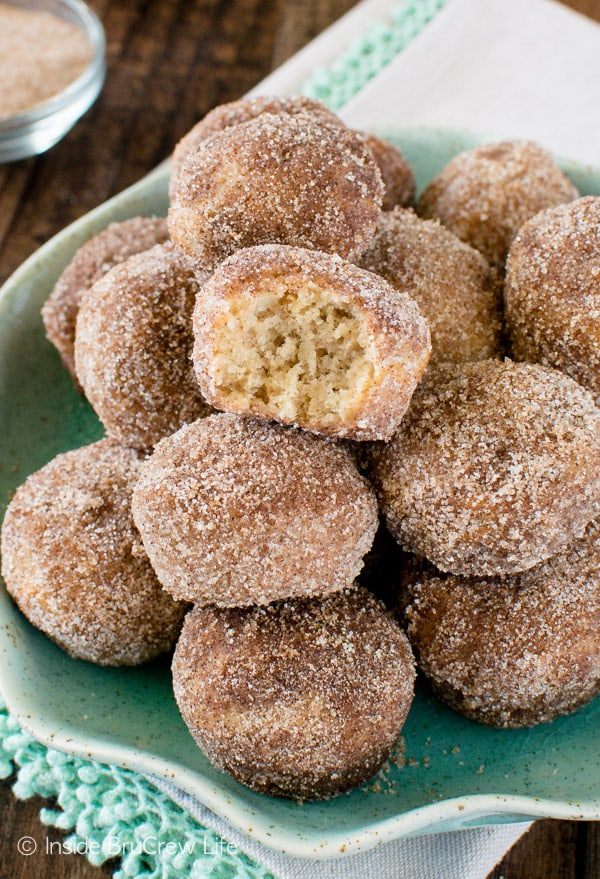 Three times the apple goodness makes these Cinnamon Sugar Apple Donut Holes the perfect fall breakfast recipe!