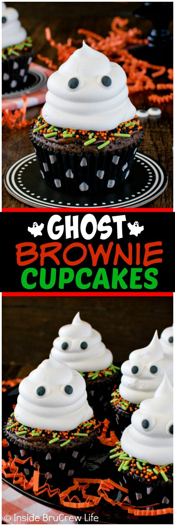 Ghost Brownie Cupcakes - chocolate, sprinkles, and a friendly ghost swirl makes these a fun Halloween treat. Easy recipe for parties!