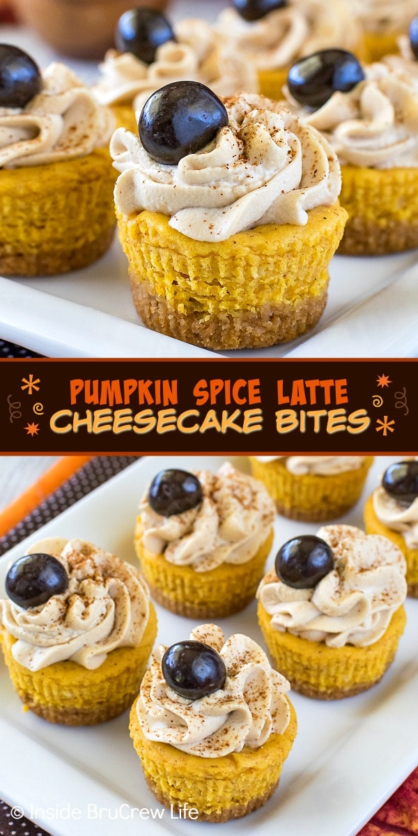 Two pictures of pumpkin spice latte cheesecake bites collaged together with a brown text box