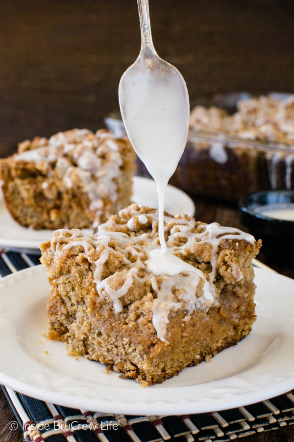 Extra glaze and crumbs make this Banana Caramel Coffee Cake disappear in a hurry! Great breakfast or dessert recipe!
