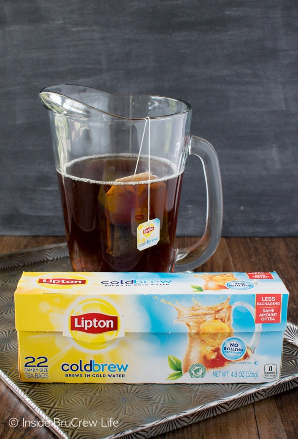 Lipton Cold Brew Iced Tea makes this Caramel Apple Cider Iced Tea an easy and refreshing fall recipe.